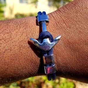 Other - Unisex Navy Blue Cord and Silver Anchor Bracelet
